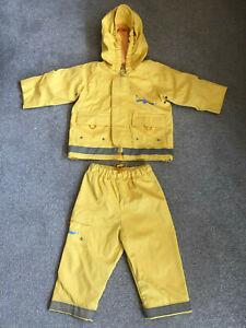 Hooded Jacket Coat Trousers Kushies Kids Waterproof 6-12 Months Yellow Boy Girl