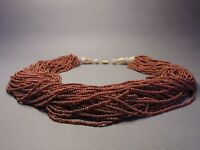 Gorgeous Vintage 81-strand Bohemian Terracotta Brown Glass Beaded Necklace