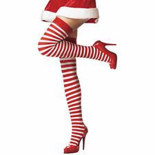 *** BRAND NEW RED & WHITE STRIPED OVER KNEE STOCKINGS - FANCY DRESS OR XMAS ***