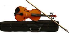 massive Geige Violine 3/4 mit aufgezogenen Markensaiten + Koffer & Bogen - braun