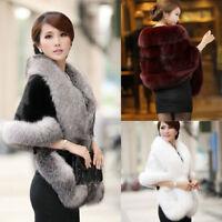 Winter Women Faux Fur Coat Ladies Warm Shawl Stole Wrap Shrug Scarf Cocktail