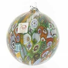 GlassOfVenice Murano Glass Christmas Ornament - Green and Gold Millefiori