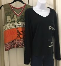 Fox Womens Graphic Shirt Lot Of 2 Black Long Sleeve V Neck Muscle Size 4