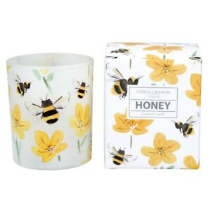 Scented Candle - Honey - Glass Jar with Buttercups & Bumble Bees - GISELA GRAHAM
