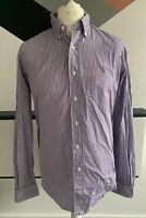 POLO Ralph Lauren Shirt Size Large PURPLE WHITE | Striped Work Office Smart