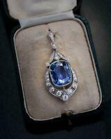14K White Gold Finish 10 Ct Cushion Cut Sapphire & Diamond  Art Deco Pendant