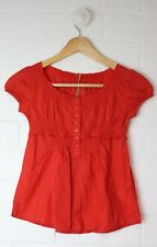 Girls ESPRIT Burnt Orange Pinstripe Dress Ruffled Button Front Size 4-5 years
