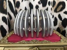 Tarina Tarantino Vintage Long Toothed Silver Metallic Lucite Swarovski Bracelet