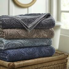 Soft Bath Towel Set of 2 Denim Wash Fleur Lattice Towels 4 Colors Combed Cotton