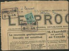 LIBÉRATION..RRR...LE PROGRES 2 9 44..Cachet sur journal Entier avec timbre .
