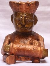Indian Handicrafts Unique Wooden Painting Musician Man Rajasthani Statue WD 056