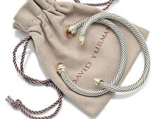 Lot of 2 David Yurman Sterling Silver 14K Gold Citrine Cable Classics Bracelets