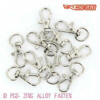 10Pcs Silver Swivel Trigger Clips Snap Lobster Clasp Hooks Bag Key Ring I2Q2