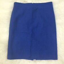 J Crew No 2 Pencil Skirt Double Serge Wool Size 2 Blue Career