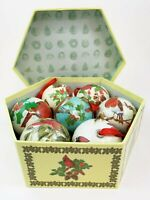Paper Mache Bird Round Ornaments In Box