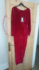 Red Velvet Side Split Maxi Dress 12