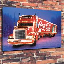 "Coca Cola Christmas camión caja impresa cuadro lienzo A1.30""x20"" 30 mm Marco Profundo"