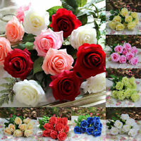 1~50pcs Artificial Real Touch Rose Silk Flowers Bouquet Wedding Party Decoration
