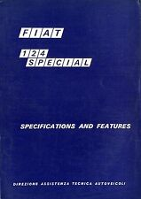 1968 FIAT 124 SPECIAL SPECIFICATIONS AND FEATURES MANUAL KATALOG ENGLISCH