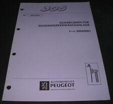 Peugeot 306 Schablonen für Scheinwerferreinigungsanlage SRA Stand April 1997