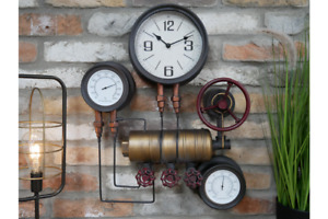 Pipe Clock with Thermometer & Hygrometer Metal Rustic Wall Mount