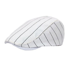 Unisex Men Women Striped Casual Hat Adjustable Driving Beret Cap (Black/White)