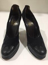 Womens Vintage 70s Chelsea Cobbler Platform Heels Black Snakeskin Suede 7.5 B