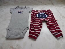 NB Baby Boy Carters Short Sleeve Football Romper Stretch Pants Outfit