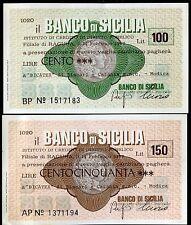 BANCO DI SICILIA 14/2/1977 BICATEX di BISCARI e CATANIA- MODICA L.100+150 FDS
