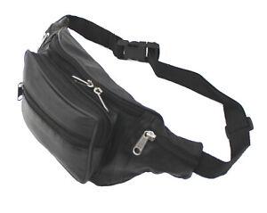 Womens Black Leather Large Travel Money Pouch Waist Bum Bag Adjustable Belt 1006