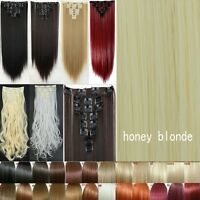 Real Thick 8pcs New Full Head Clip in Hair Extensions Curly Straight as Human FB