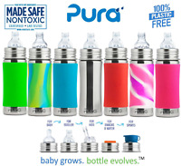 Pura Kiki Stainless Steel Baby Infant Sippy Bottle Nipple Silicone Sleeve 11 oz