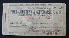 1905 Fonda Johnstown Gloversille Rail Road Co Electric Division Pass/Ticket Book