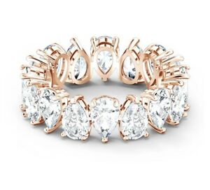 Vittore ring Pear cut crystals, White, Rose gold-tone  size 7