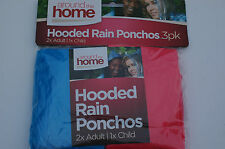 3x LightWeight Rain Ponchos Waterproof Emergency Hooded Capes 2 Adults 1 x Child
