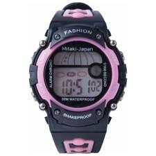 WATCH Womens Black & Pink Digital Sport 30M WATERPROOF Stopwatch Light Silicone