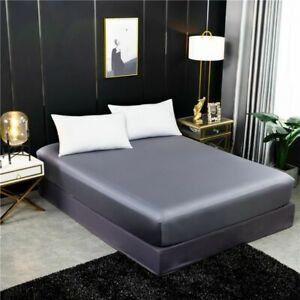 Mattress Cover Double Queen Size Real Silk Fitted Bedding Elastic Band Bed Sheet