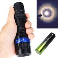 Focus 8000 Lumen Q5 LED Zoomable Flashlight Torch Black +18650 Battery MT