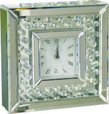 Modern Retro Stylish Crystal And Mirror Stand Table Clock 25cm Square
