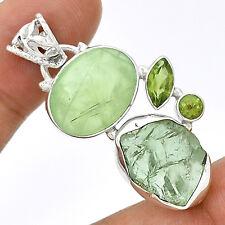 Prehnite Rutile & Green Amethyst Rough 925 Silver Jewelry PP48616