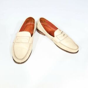 COLE HAAN SIZE 10 Bone Leather Red Contrast Stitch Loafers Shoes