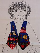 VIP Dreamspinners KIDS BACK TO SCHOOL VEST & Bunchies Fabric Panel Sz 6 to 12