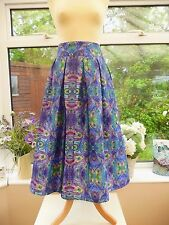 "STUNNING NEW ""LINDY BOP"" PURPLE MARNIE PEACOCK FEATHER 50's STYLE SWING SKIRT 20"