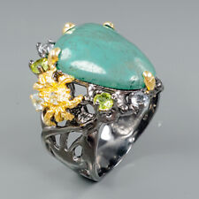 Jewelry Sale Design Natural Turquoise 925 Sterling Silver Ring Size 9.5/R92092