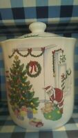 "Nikko ""Happy Holidays"" 6 7/8 Inch Christmas Cookie Jar Vintage made in Japan"
