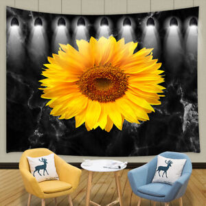Sunflower Black Marble Tapestry for Bedroom Living Room Dorm Decor