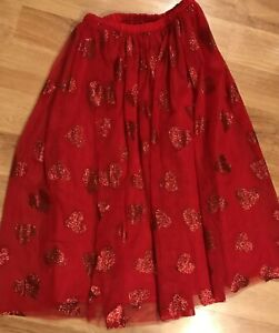 Cat And Jack Girl's Red Heart Skirt Size  7/8  with underskirt underneath
