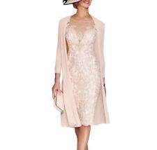 Elegant Rosa Chiffon Kleider Damen Festlich Gr 32 34 36 38 40 42 44 46 48 50 52+