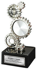 Engraved Desk Metal Gear Clock Photo Picture Frame Engineering Gift Graduation