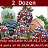 2 Dozen Patriotic Chocolate Covered Strawberries w delivery date selection